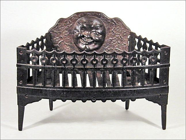 Antique Cast Iron Fireplace Grate / Insert for Wood or Coal w/ Winking Moon  Face - Antique Cast Iron Fireplace Grate Log Holder Coal Box Mantle