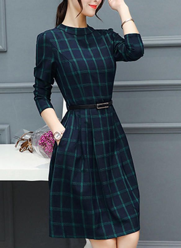 Plaid Long Sleeves A Line Knee Length Vintage Casual Dresses Pretty Dresses Casual Long Dress Casual Casual Dresses For Women