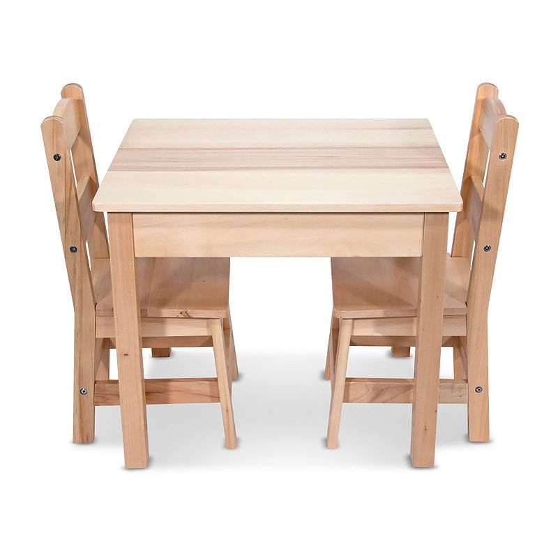 Melissa And Doug 3 Piece Wooden Kids Table Chairs Set