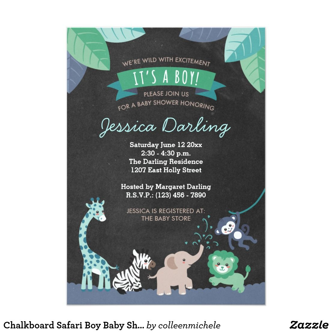 Chalkboard Safari Boy Baby Shower Invitations Zazzle Com