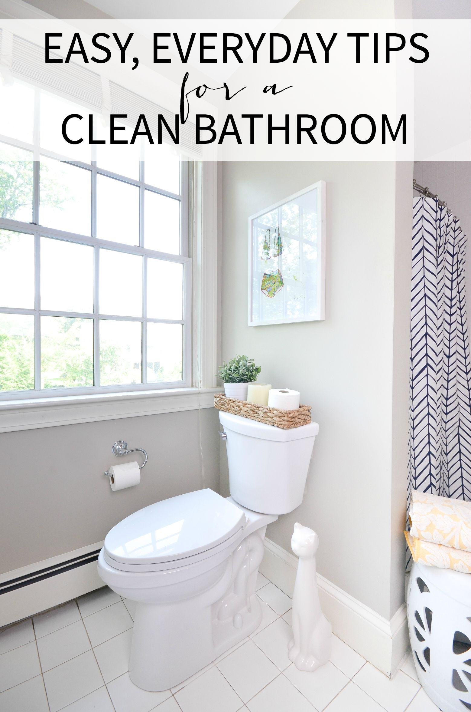 Easy Tips For A Clean Bathroom That You Can Use Everyday Plus Sources For This Pretty Simple White And Navy Bathroom Cleaning Bathroom Modern Master Bathroom