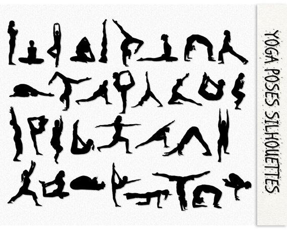 Yoga Clip Art Yoga Poses Silhouette Graphics Yoga Clipart Scrapbook Digital Download Exercise Jpg Transparent Png Printable Clip Art Yoga Poses Yoga