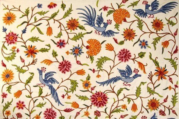 Cotton Crewel Embroidered Fabric Birds Cream Multicolor Brd333