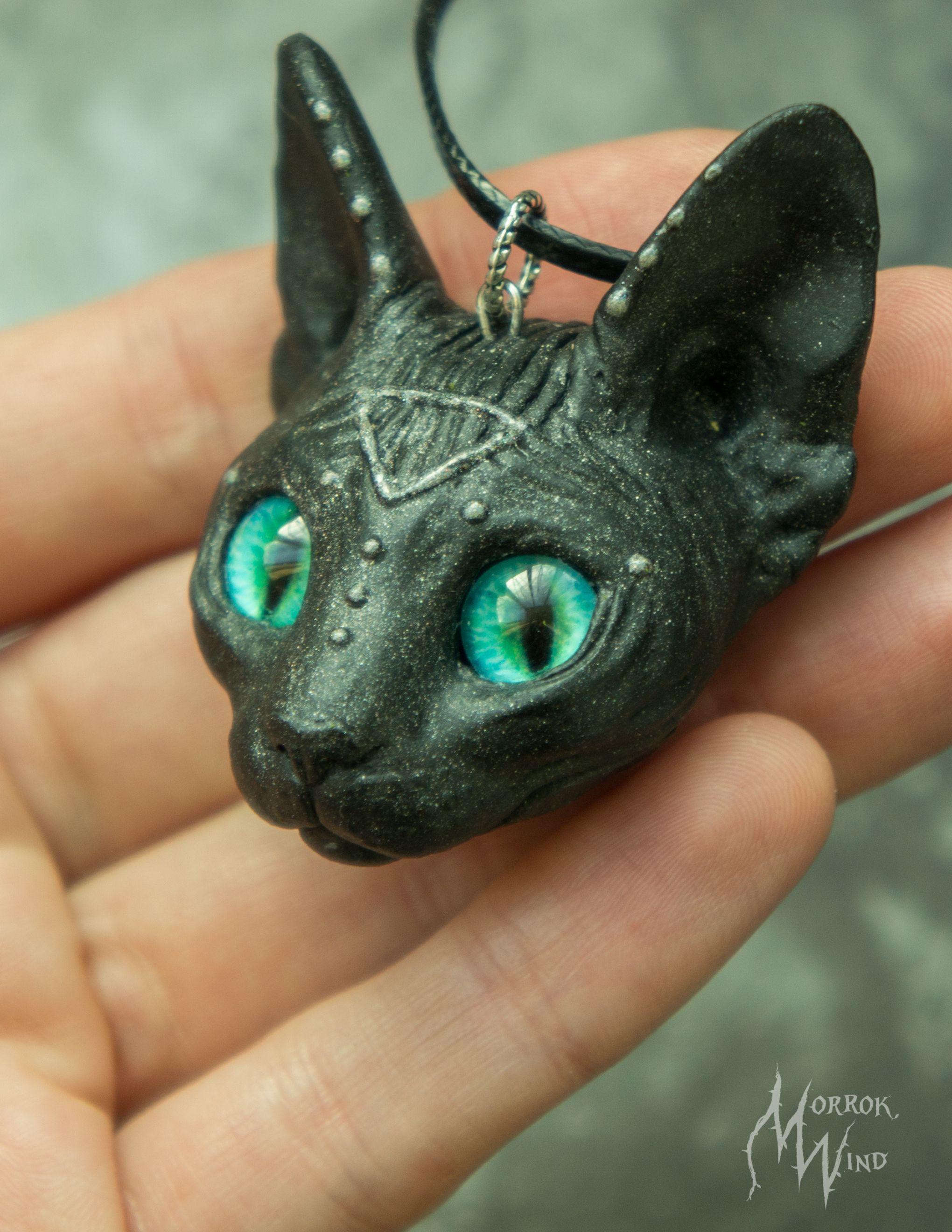 Sphynx necklace cat lover black cat Green Eyes feline