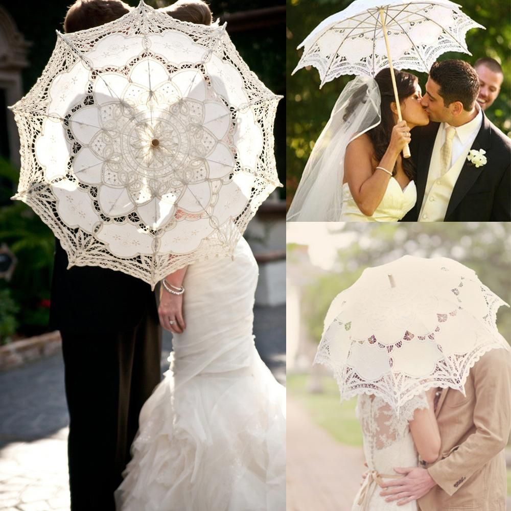 Wedding Party Lace Flower Umbrella Girl Parasol Bridal Photography Prop White