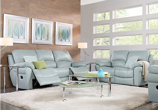 Picture Of Vercelli Aqua Leather 5 Pc Living Room From Leather Glamorous Black Leather Living Room Furniture Design Decoration