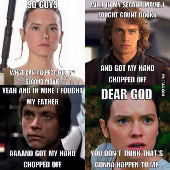 Me To Rey Ehhh I D Think You D Have A Fifty Percent Chance Of That Happening To You But Hey It Happens Yo Star Wars Humor Star Wars Jokes Star Wars Memes
