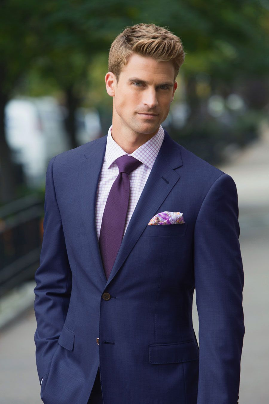 Bright-Blue-Sharkskin-Custom-Suit-Lavender-Check-Tailored-Shirt ...