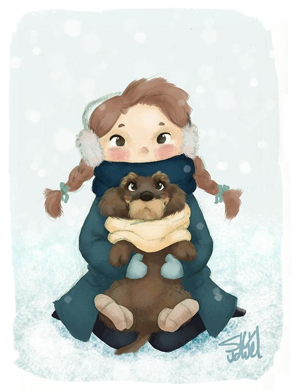 Girl with her little dog in the snow  Kids Illustration by S.K.Y. van der Wel