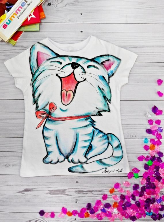 2470f3864 Kids Art t shirts Hand painted toddler animal cat t shirts Creative  customized kitten t shirts Birth