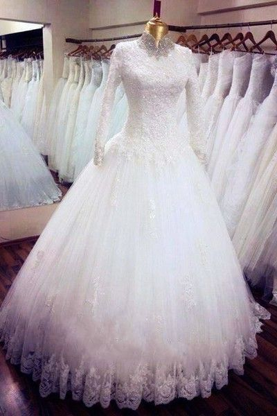 Buy Quality dress bridal gown directly from China dress fabric by the yard Suppliers:         Hijab Wedding Dress Long Sleeve White Islamic Wedding Gowns High Neck Beaded Lace Muslim Bridal Dress