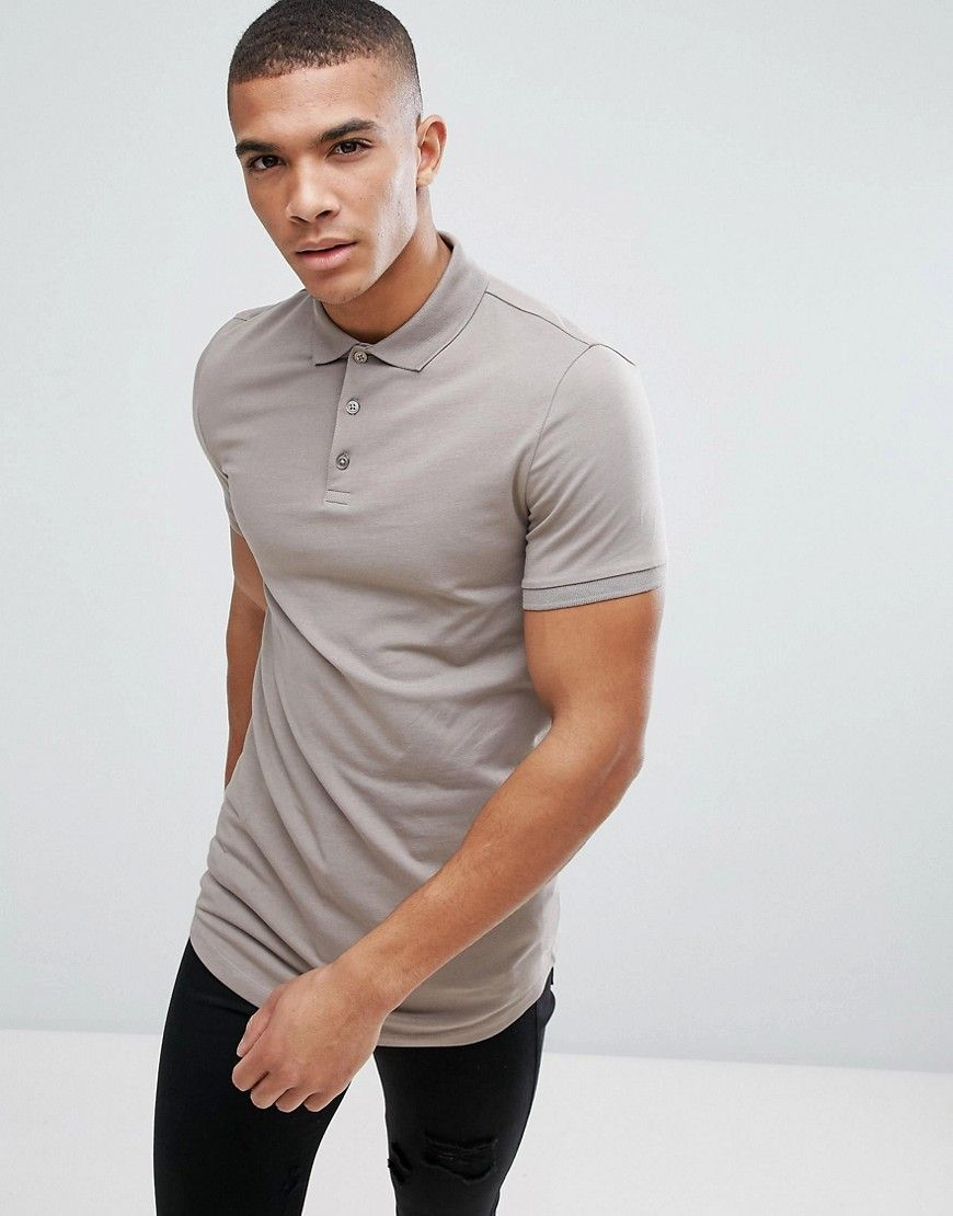 Get this Asos's polo shirt now! Click for more details. Worldwide shipping. ASOS  Longline Muscle Polo With Curve Hem In Grey - Brown: Polo shirt by ASOS, ...