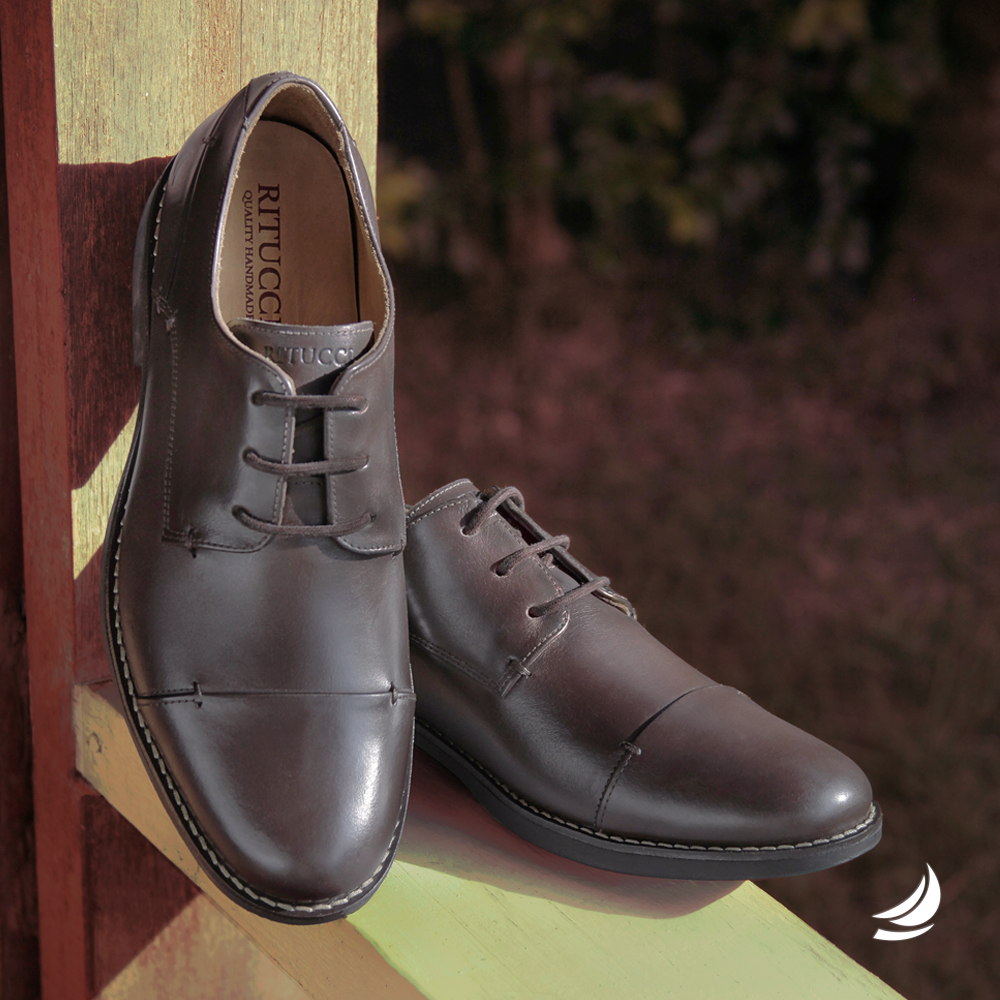 9db106dd7 Sapato Social Masculino Marrom Café em Couro Natural e Solado em Borracha
