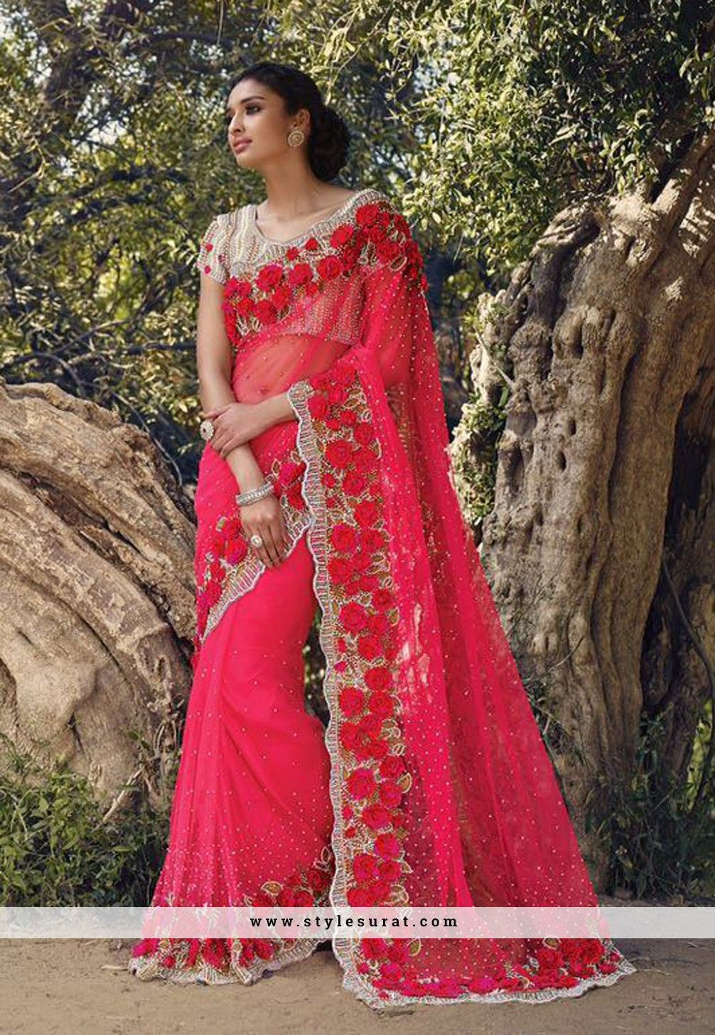Bewitching Red Color Net Fabric With Mindblowing Rose Work