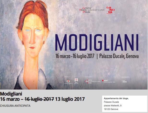 Ancora querelle su Modigliani a Palazzo Ducale a Genova. E la mostra chiude in anticipo