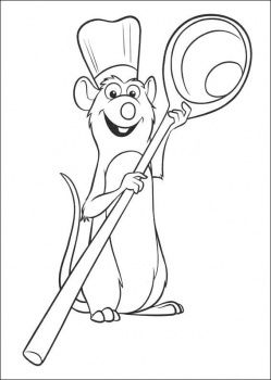 Chef Remy With Huge Spoon Coloring Page Disney Coloring Pages Coloring Pages Disney Colors