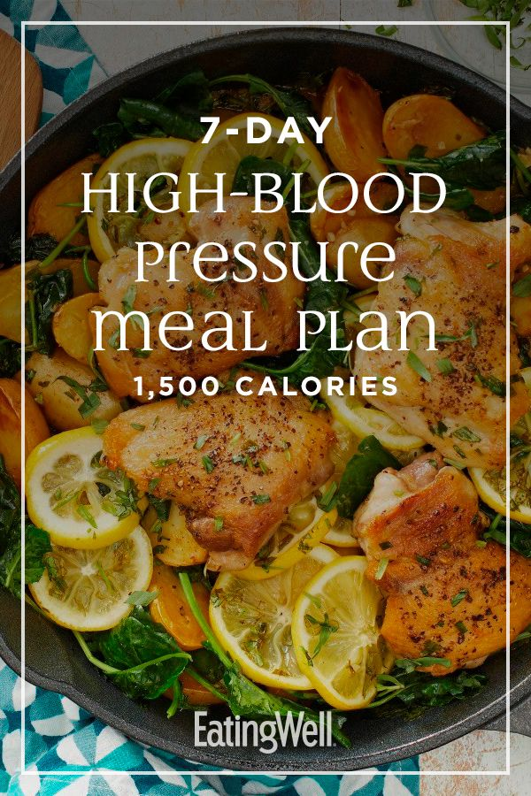 7-Day High-Blood Pressure Meal Plan: 1,500 Calories