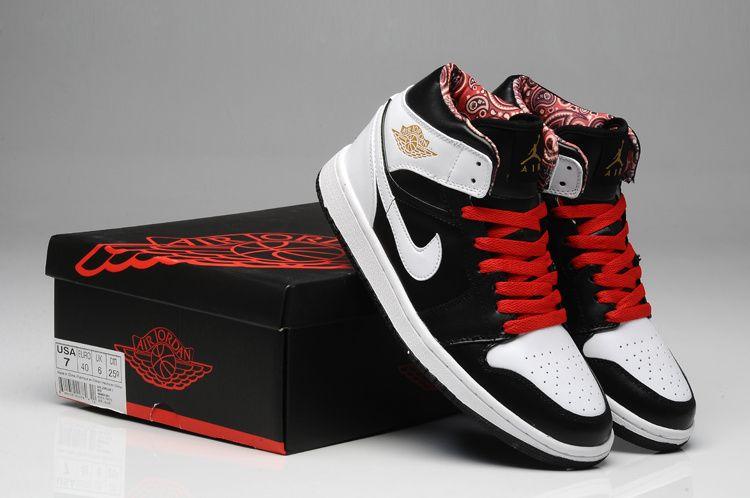 Black White Red Nike Air Jordan 1 Mens Sneaker on sale