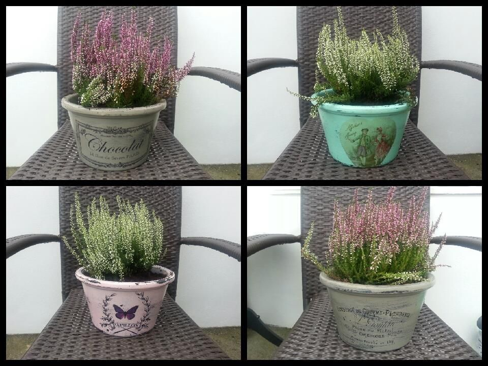 Makeover on floral clay pots