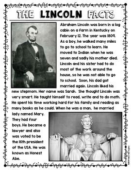 Abraham Lincoln Close Reading Non Fiction Text for First Grade and Kindergarten. Includes flip book
