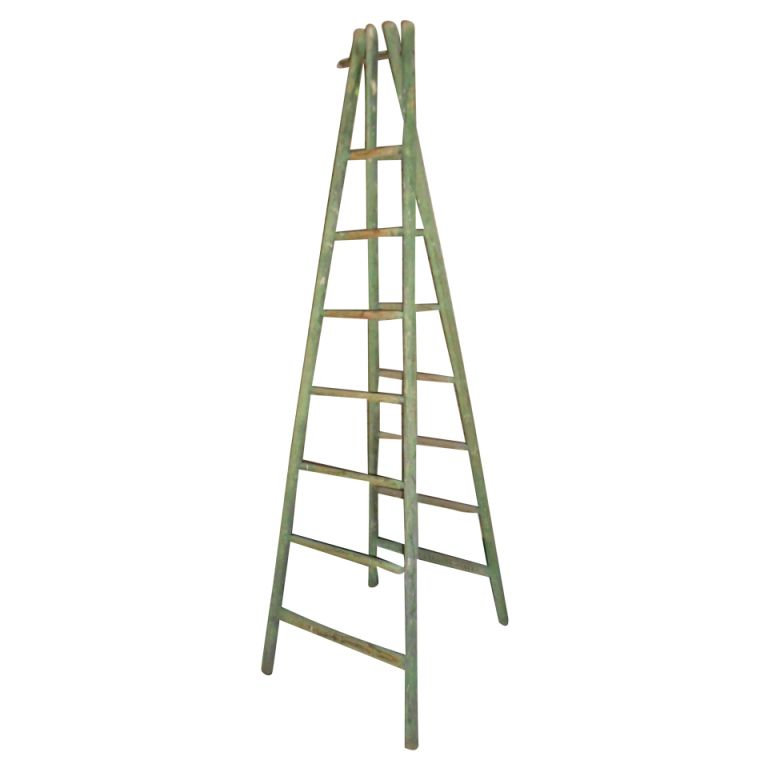 French Country Orchard Ladder Early 20th C Garden Ornaments Vintage Green Ladder