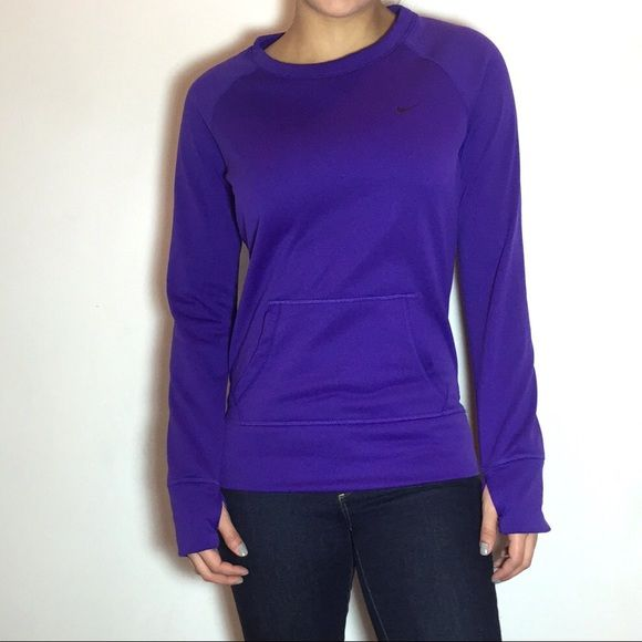 Nike Purple Therma-Fit Sweatshirt Nike Women's Therma-Fit All Time Crew Sweatshirt. Therma-FIT fabric keeps you warm and insulated.It features durable ribbed cuffs, hem and neckline with interior taping for comfort. -Brushed inner layer for warmth and soft feel. -Kangaroo pocket for extra storage and warmth. -Nike logo on left chest. -100% Polyester. -Like new, never worn.  NO Trades. Please make all offers through offer button. Nike Tops Sweatshirts & Hoodies