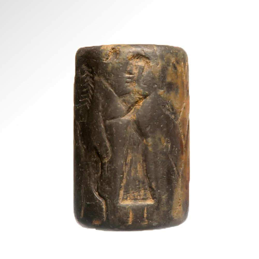 Large Akkadian Cylinder Seal, Contest Scene, c  Late 3rd