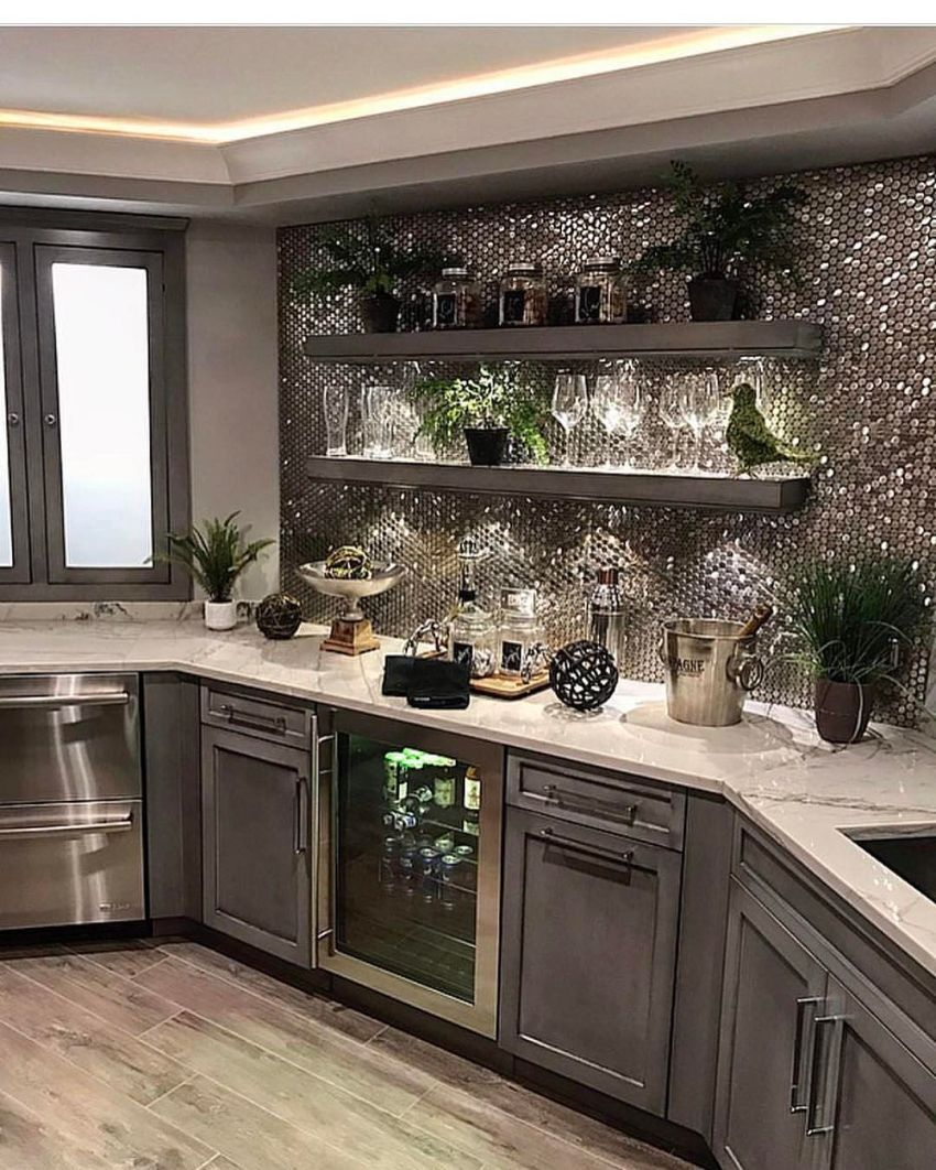 Unique Backsplash Ideas To Protect Your Kitchen Walls Against Water 45 Home Home Bar Decor Home Decor Kitchen