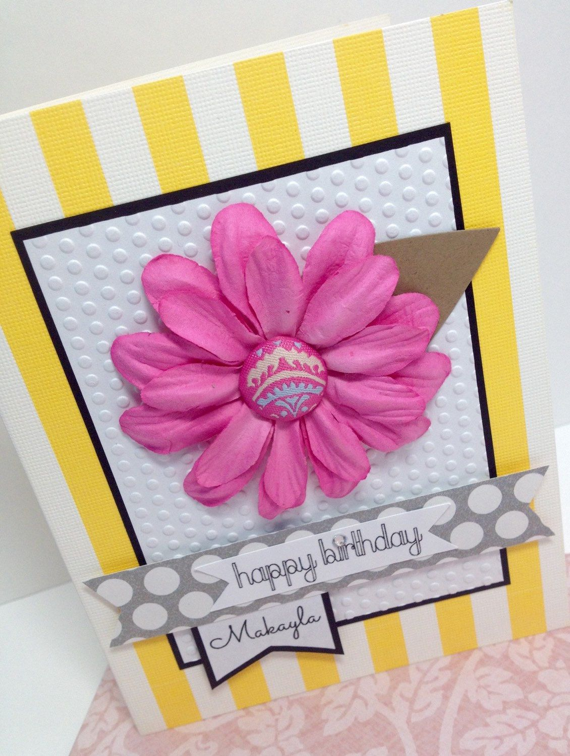 Personalized birthday card with pink flower handmade scrapbook personalized birthday card with pink flower handmade scrapbook paper greeting card pretty feminine card kristyandbryce Choice Image
