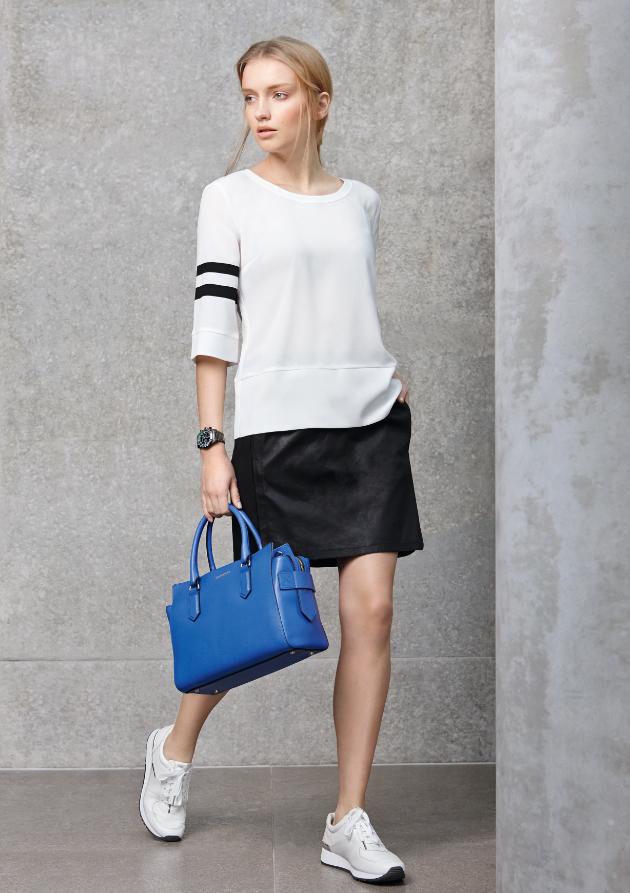 Black & White meets Flash Colours: #Look von #Set #Drykorn und #Coccinelle. #Frühjahrsommer2015 #Fashion #Reischmann #design