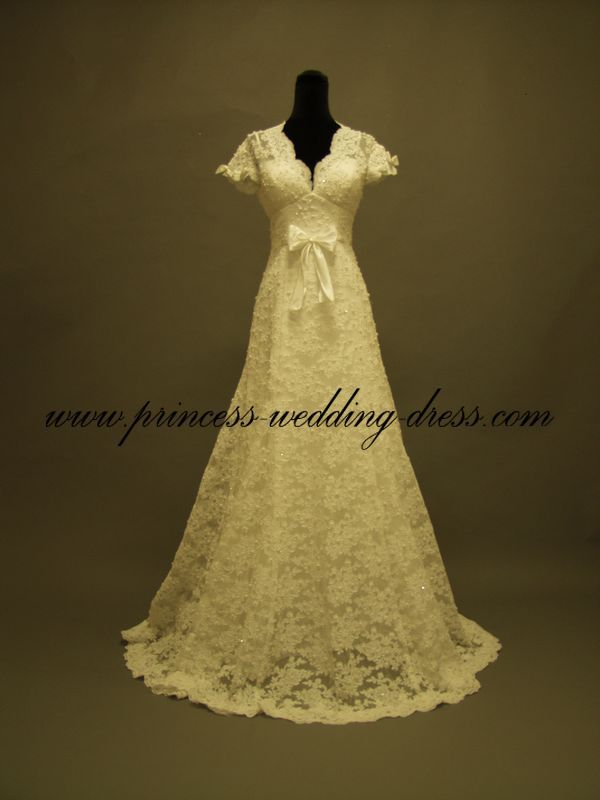 V-neck Expensive lace Wedding Dresses 01254