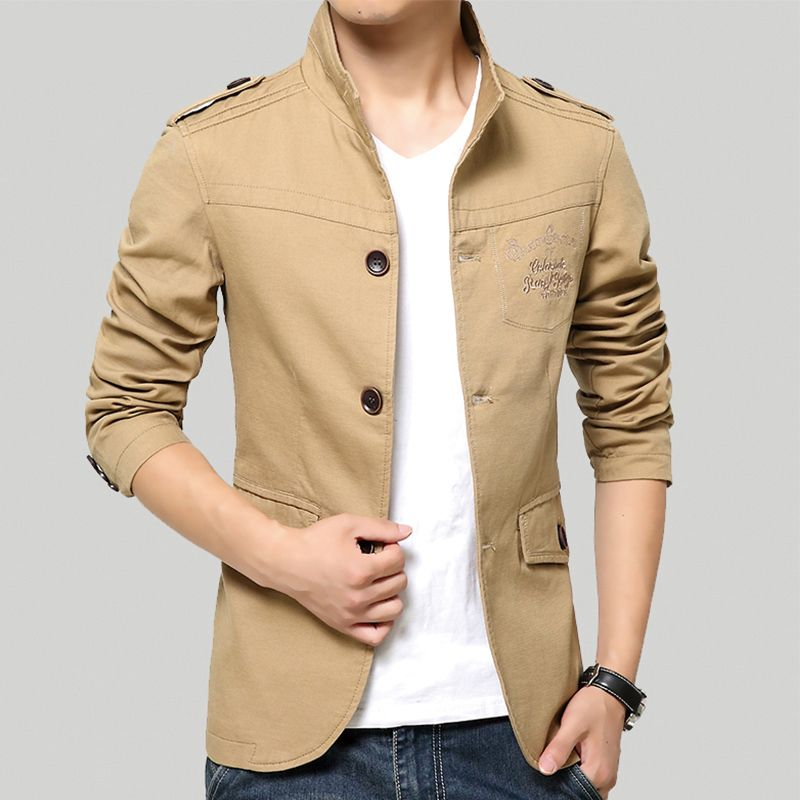 Spring and Summer Men's Jackets Solid Cotton Casual Coat Men Army Military  Khaki Jacket Plus Size