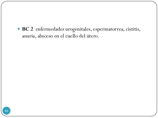  BC 2 enfermedades urogenitales, espermatorrea, cistitis, anuria, absceso en el cuello del útero. 83