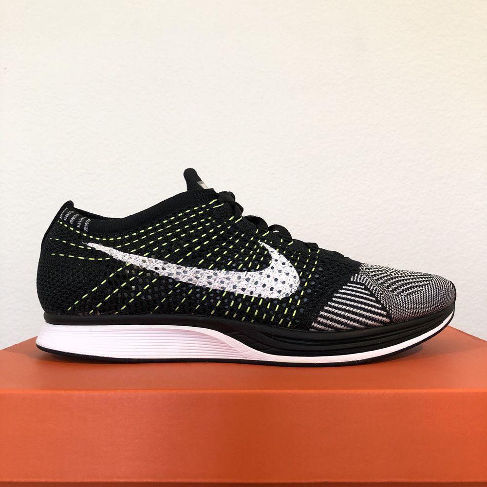 662021b0ed824 Nike Flyknit Racer Size M 10 W 11.5 Black Volt Trainer Multicolor Oreo   fashion
