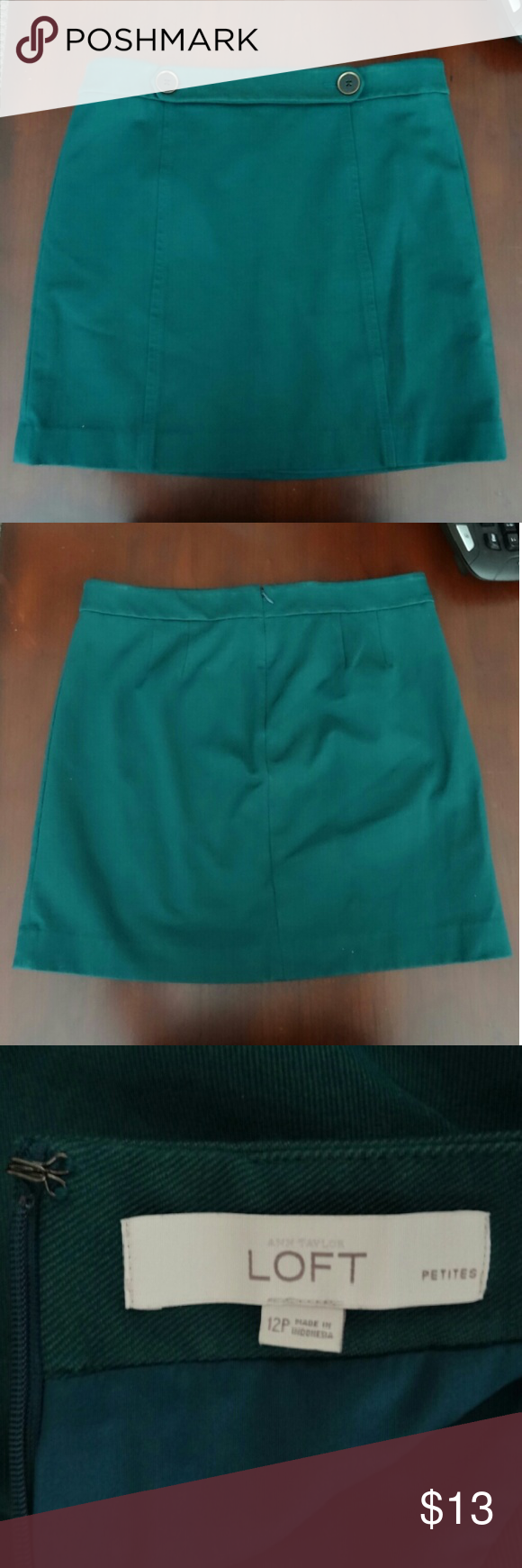 Ann Taylor Loft Skirt - Teal Size 12P Gently used Ann Taylor Loft teal skirt with copper button accents in size 12P.  Thanks for looking - Bundle to save! Ann Taylor Skirts Midi