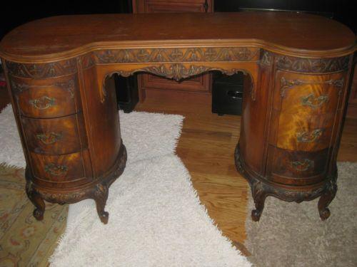 Antique Mahogany Kidney Shaped Desk Or Vanity Ebay