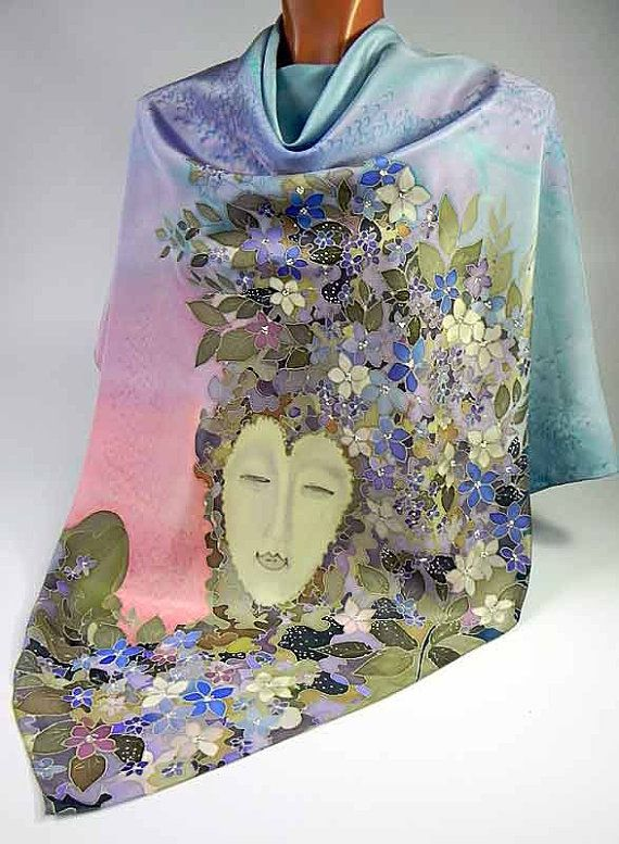 Batik shawl Flora handpainted on silk by lavanita on Etsy, $229.00