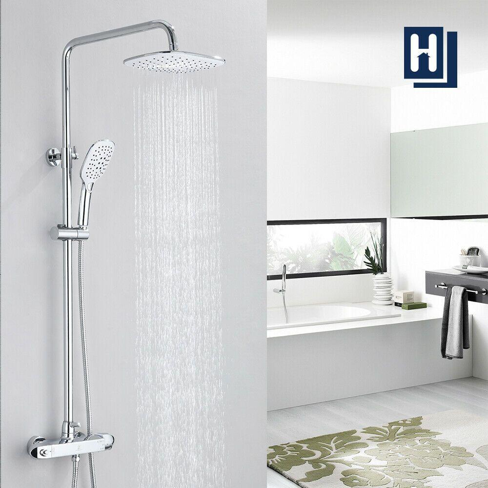 10 Zoll Thermostat Badezimmer Duschsaule Verchromtes Duschset Messing Regendusche In 2020 Duschsysteme Dusche Badezimmer