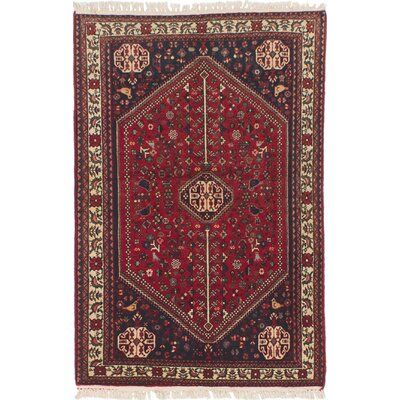 Ecarpetgallery One Of A Kind Abadeh Hand Knotted 3 3 X 5 Wool Red Dark Navy Area Rug Red Wool Rug Area Rugs Rugs