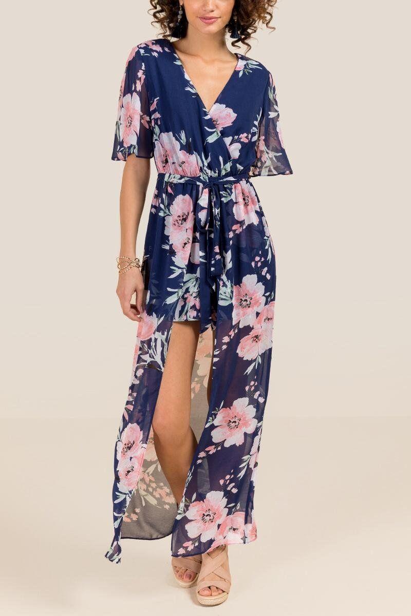 Eris Split Sleeve Floral Maxi Romper