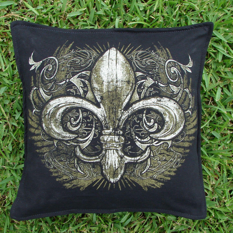 Black and Gold Fleur De Lis T-shirt Throw Pillow Sham Cover. $20.00, via Etsy.