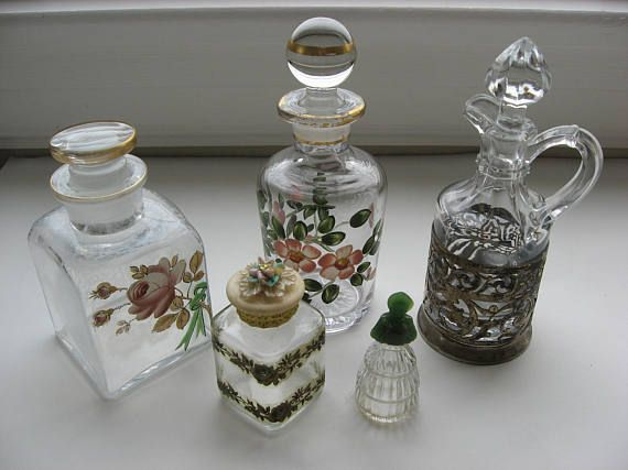 Vintage Collection of 5  Perfume/Cosmetic/Vanity Bottles//