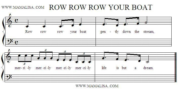 Sheet Music of Row, Row, Row Your Boat - Canadian Children\'s Songs ...