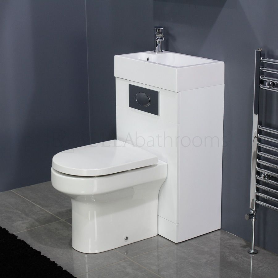 Cassellie Futura Gloss White Space Saving Toilet With Sink On Top
