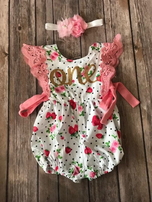 First Birthday Outift Girl Strawberry Strawberry Romper
