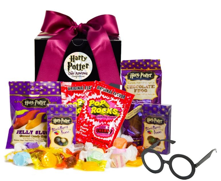Whether you're on a quest to overcome He-Who-Must-Not-Be-Named or preparing for your seat under the sorting hat, this Harry Potter Candy Gift Box is sure to sweeten your day. Travel with Harry, Ron,