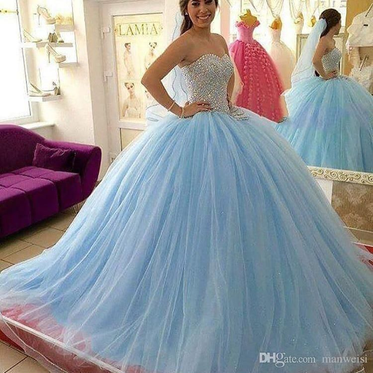 Light Sky Blue Crystal Quinceanera Dresses Beaded Sweetheart ...