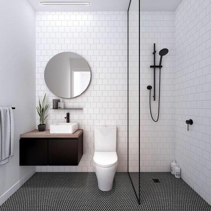 1001 ideas de duchas de obra para decorar el ba o con for Griferia negra bano