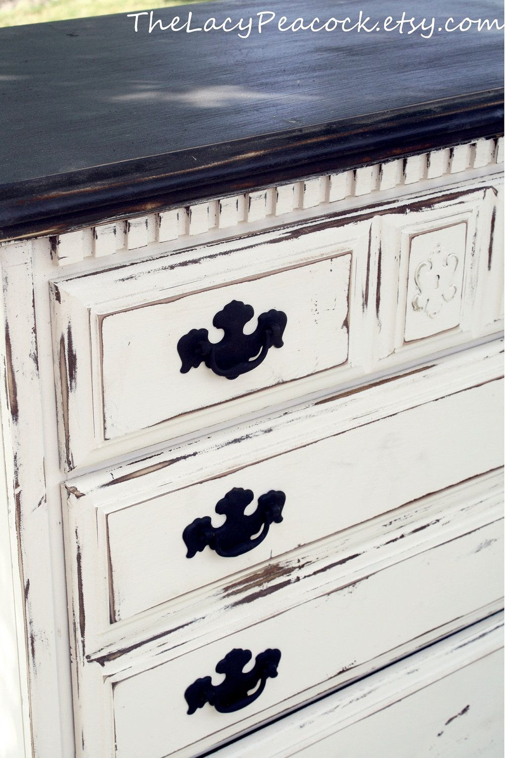 Distressed Black And White Tall Dresser.