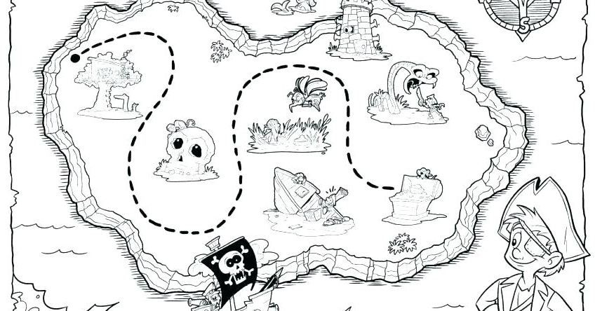 Treasure Map Coloring Page Full